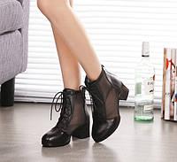 Элегантные женские туфли ботинки на каблуке со шнуровкой Уценка