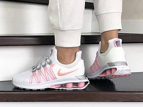 Модные женские кроссовки Nike Shox Gravity,белые с розовым, фото 2