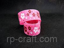 Репсова Стрічка. Квіти на рожевому тлі, 26 мм