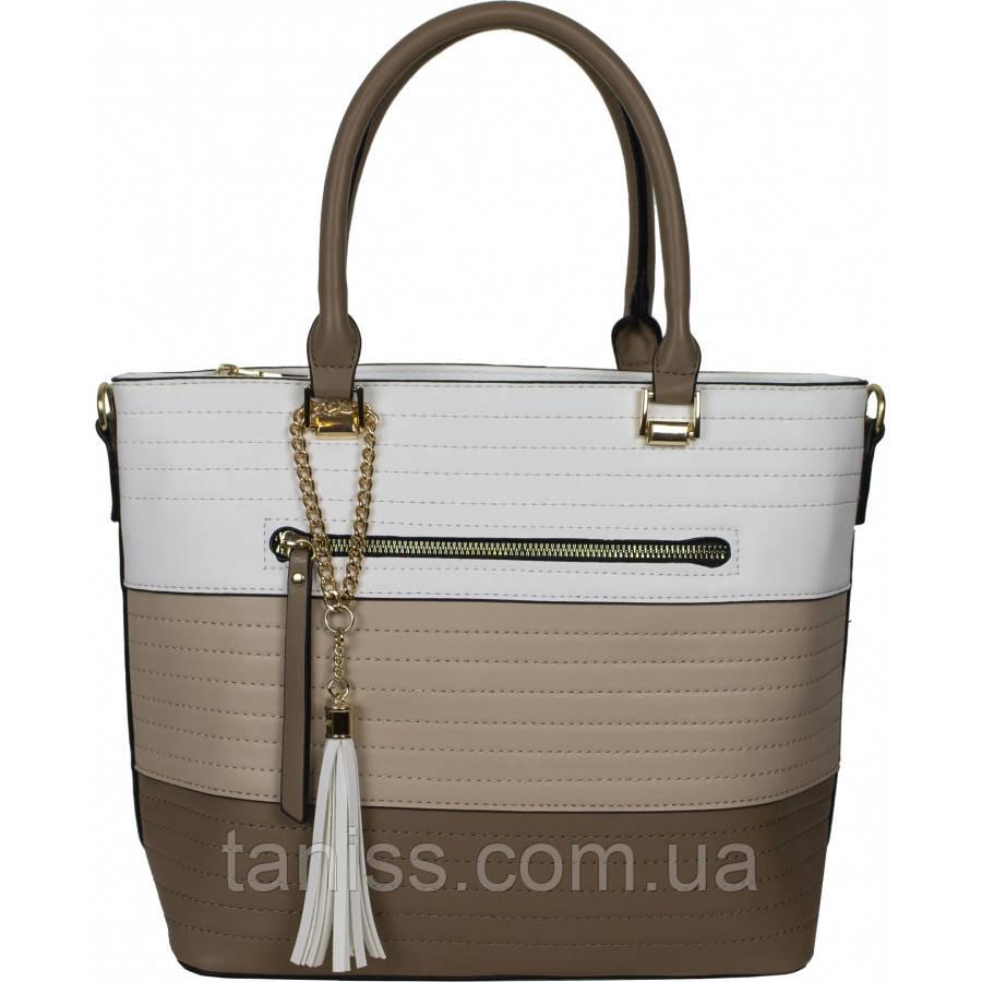 Женская, стильная,городская сумка, материал кожзам, две ручки, одно отделение (908029) 2 цвета