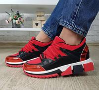 Кроссовки красные на высокой массивной выступающей подошве, фото 1