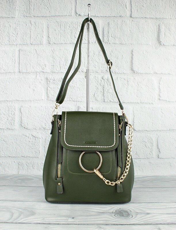 Рюкзак-сумка с кольцом и цепью зеленый 5678