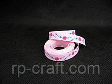 Стрічка репсова. Квіти на рожевому тлі, 10 мм