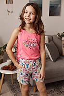 Розовый детский комбинезон с шортами для девочки