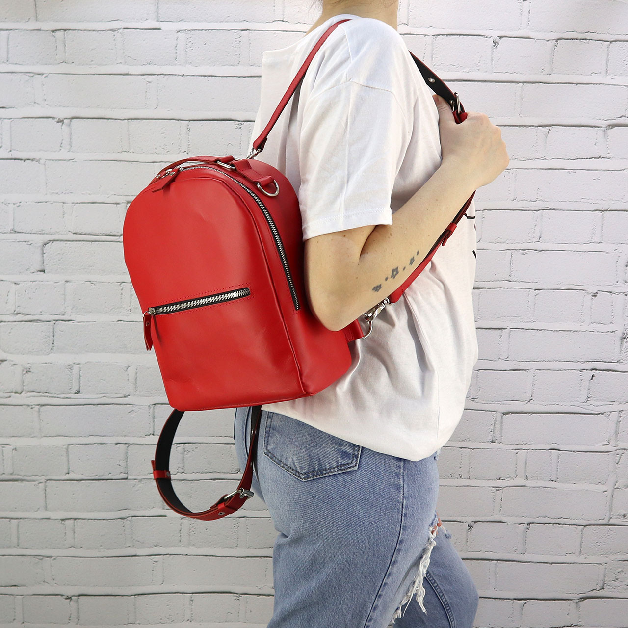 Рюкзак piton mid красный из натуральной кожи kapri