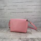 Сумка simple розовая из натуральной кожи kapri, фото 6