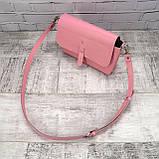 Сумка simple розовая из натуральной кожи kapri, фото 9