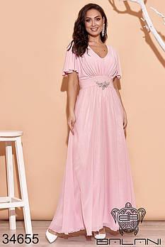 Длинное вечернее платье с рукавами крылышками и украшением на талии с 48 по 52 размер