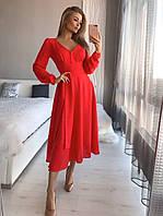 """Стильное женское красное платье-миди, """"Мадлен"""""""