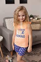 Стильный летний комплект для девочек оранжевая футболка и синие шорты размеры 0-1, 1-2, 3-4