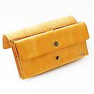 """Кожаный кошелёк """"Accordion"""" с большим карманом для мелочи или жетонов инжирного цвета. Ручная работа, фото 3"""