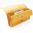 """Кожаный кошелёк """"Accordion"""" с большим карманом для мелочи или жетонов инжирного цвета. Ручная работа, фото 4"""