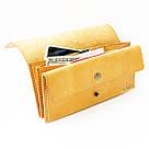 """Кожаный кошелёк """"Accordion"""" с большим карманом для мелочи или жетонов инжирного цвета. Ручная работа, фото 5"""