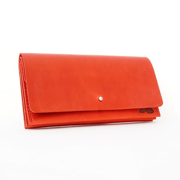 """Кожаный женский кошелёк """"Accordion"""" красного цвета. Ручная работа"""