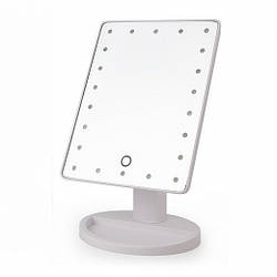 Зеркало косметическое настольное с LED подсветкой белого цвета