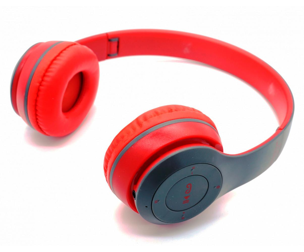 Наушники накладные с Bluetooth P47 красно-серого цвета