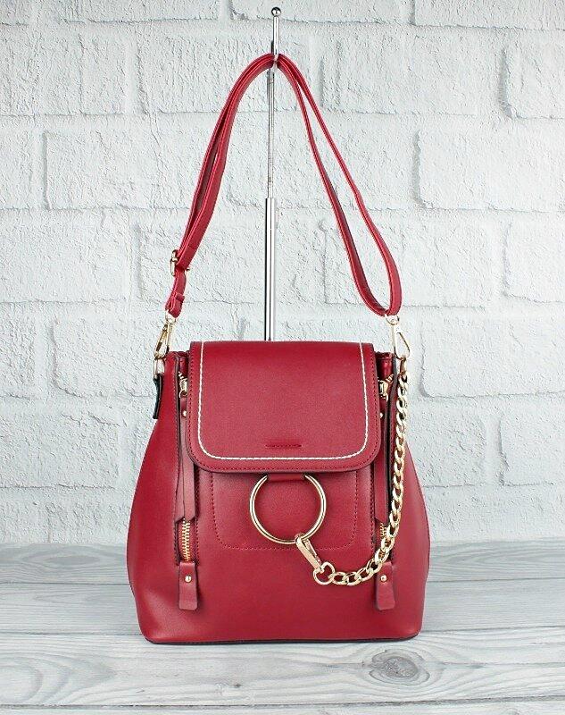 Рюкзак-сумка с кольцом и цепью красный 5678