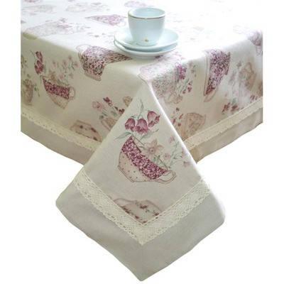 Скатертина cups  с кантом и кружевом 140х140 см
