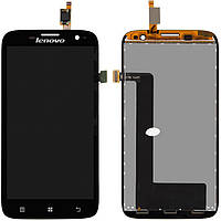 Дисплейный модуль (дисплей + сенсор) для Lenovo A859, черный, оригинал