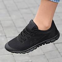 Кроссовки женские для бега черные сетка (Код: Ш1734)