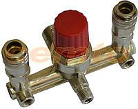 Двойник для компрессора Miol воздушная рампа редуктор с двумя быстросъемными соединениями, фото 1