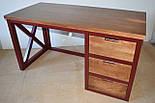 Стол офисный из массива дерева в стиле лофт, фото 8