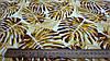 """Ткань супер-софт молочного цвета """"Монстера"""" желтые листья, фото 3"""