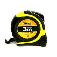 "Рулетка вимірювальна  ""Professional""  3м*16мм (ABS+TPR+Shiftlock) AzBesT (12/180)"