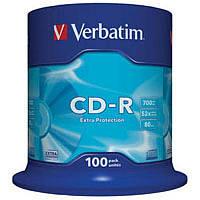 CD-R Verbatim диски для аудио 700MB/80 min 52x Cake, 100шт Extra