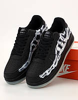 Мужские кроссовки Nike Air Force 1 low black (Найк Аир Форс черные) 42