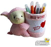 Подстаканник с игрушкой ОВЕЧКА 10*15см розовый