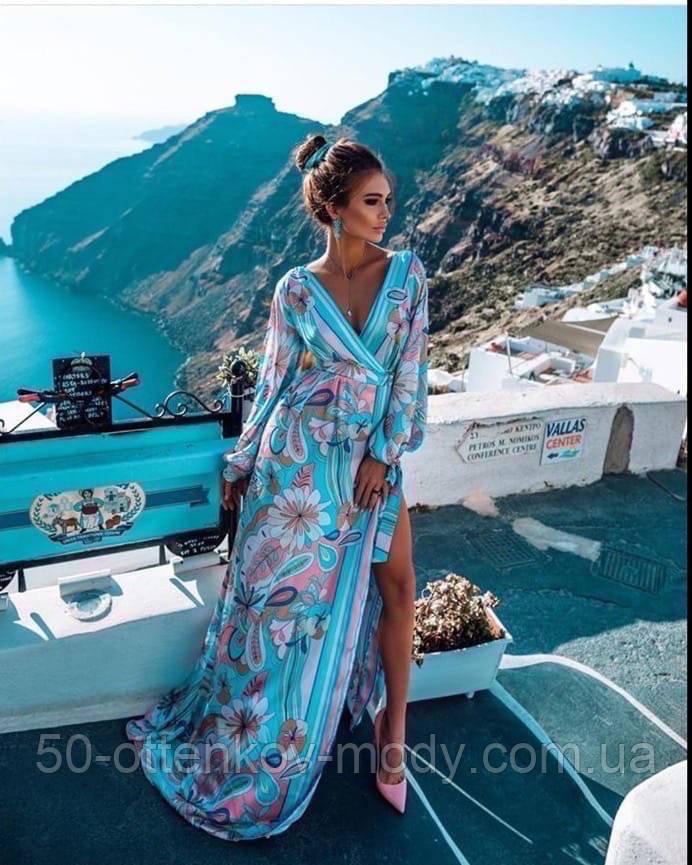 Гарне плаття подовжене з візерунком, дуже м'яке,шовкове плаття