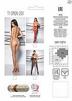 Эротические колготки с кружевным поясом на силиконе TIOPEN 001 nero 1/2 (20 den) - Passion Страсть. Колготки