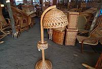 Торшер круглый напольный, плетенный из лозы