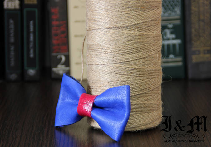 Кожаная галстук-бабочка I&M (010842) Blue, фото 2