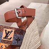 Босоножки Луи Витон на платформе кожаная реплика, фото 4