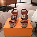 Босоніжки Луї Вітон на платформі шкіряна репліка, фото 6