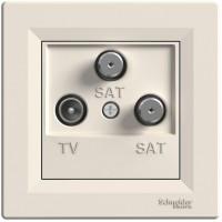Розетка TV-SAT-SAT оконечная (1дБ) Кремовая, Asfora EPH3600123