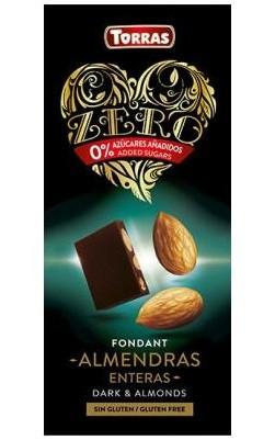 Шоколад черный без сахара Torras ZERO with almonds с миндалем 150 г Испания