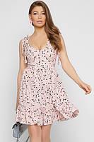 Легкое летнее короткое платье в горох на бретельках нежно розового цвета