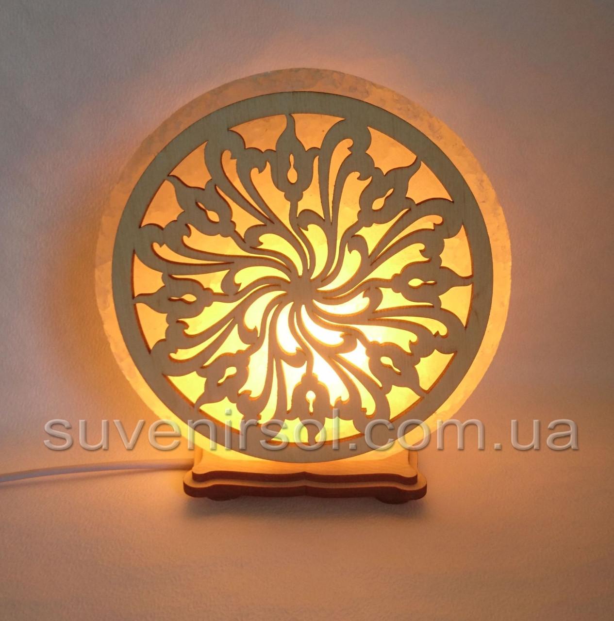 Соляной светильник круглый Узор