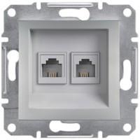 Розетка телефонна, RJ11, 4 контакту, подвійна Алюміній Asfora, EPH4200161