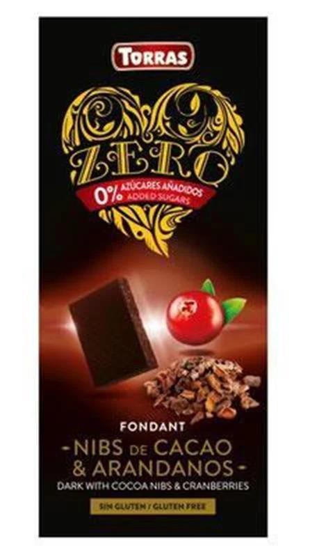 Шоколад чорний без цукру Torras ZERO with cocoa nibs and cranberries з какао-бобами і журавлиною 125 г Іспанія