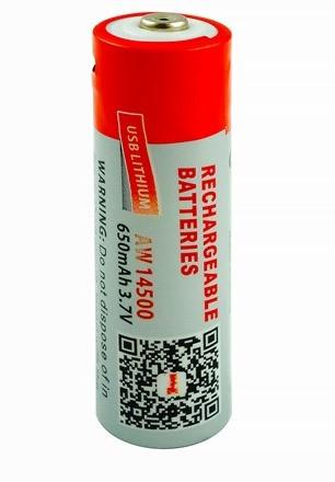 Аккумулятор (батарейка) 14500 (типоразмер АА) micro USB 650 мАч Li-ion 3.7V