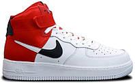 """Мужские Кроссовки Nike Air Force High NBA """"White Red"""" - """"Белые Красные"""", фото 1"""