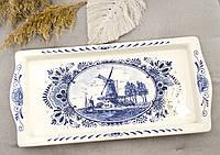 Декоративное фарфоровое блюдо, поднос, прямоугольная тарелка, Делфт, делфтский фарфор, Нидерланды, фото 1
