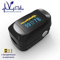 Пульсоксиметр на палец для измерения пульса, сатурации и индекса перфузии крови с батарейками IMDK medical A2