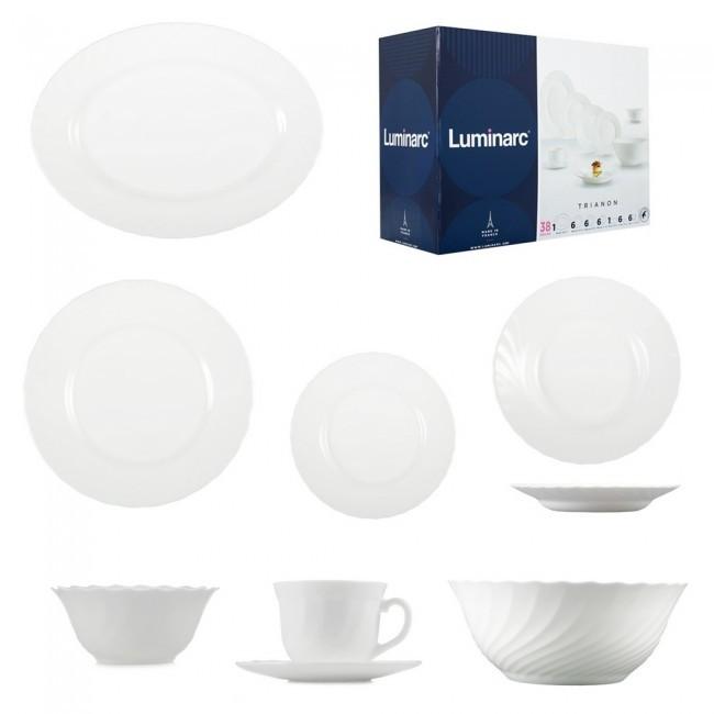 Великий столовий сервіз білий Luminarc Trianon (Тріанон) 38 предметів (P0307)
