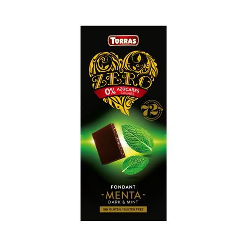 Шоколад черный без сахара Torras ZERO with mint с мятой 100 г Испания