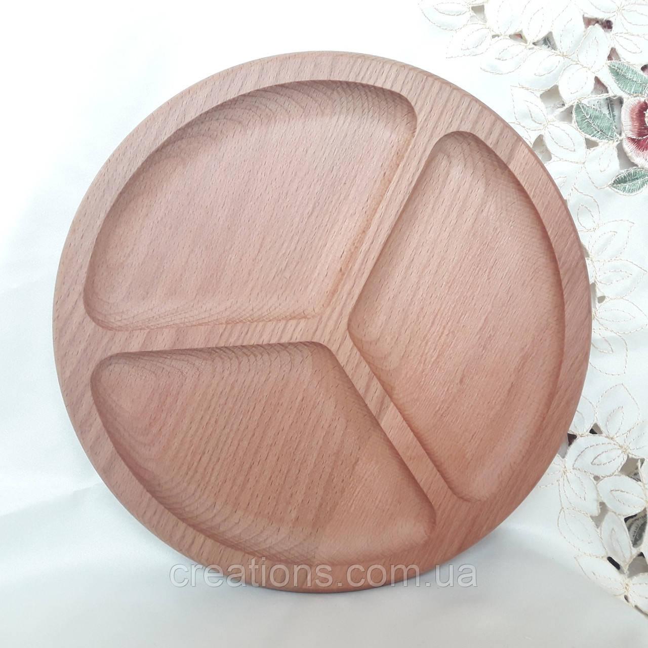 Менажница деревянная 34 см. круглая на 3 секции из бука БМ-48